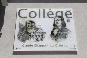 Inauguration de la plaque du collège Claude Chappe / Ida Grinspan